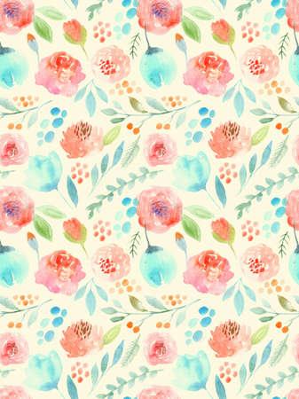 seamless pattern: Watercolor flowers. Seamless pattern