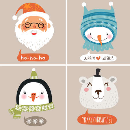 snowmen: Christmas vector illustration. Cute face