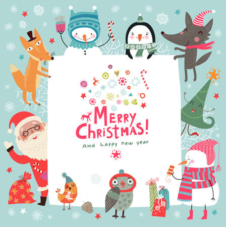retro christmas tree: Christmas background with cute characters Illustration