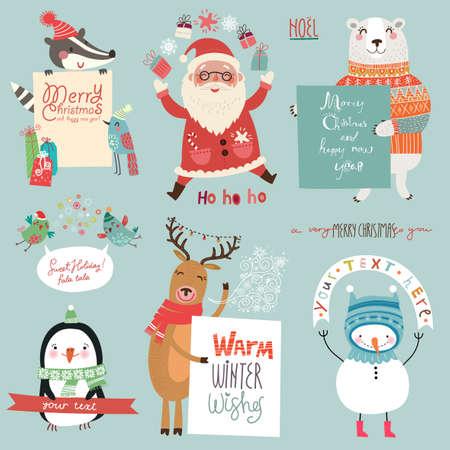 귀여운 캐릭터와 크리스마스 배경