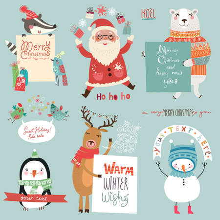 Christmas background with cute characters Çizim