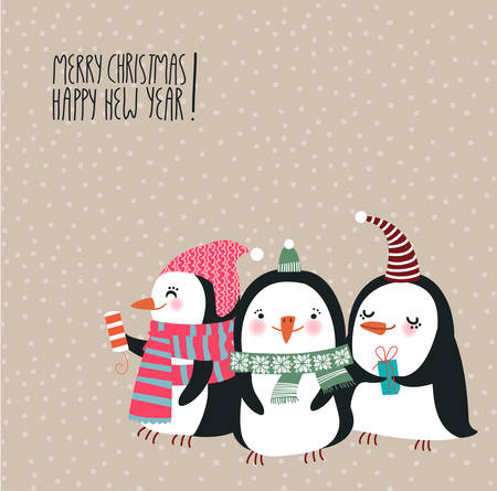 vector image: Cute Christmas penguins
