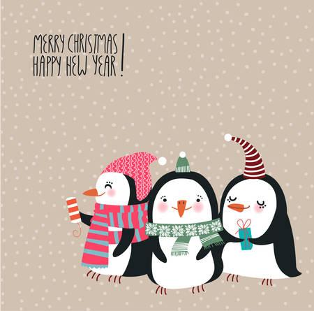 cartoon penguin: Cute Christmas penguins