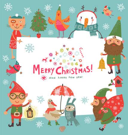 gnomos: tarjeta de Navidad