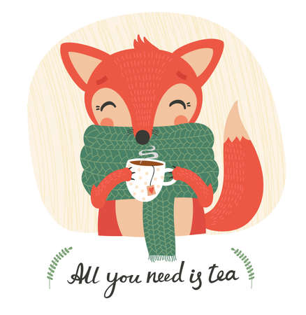 old time: Cute cartoon fox with tea