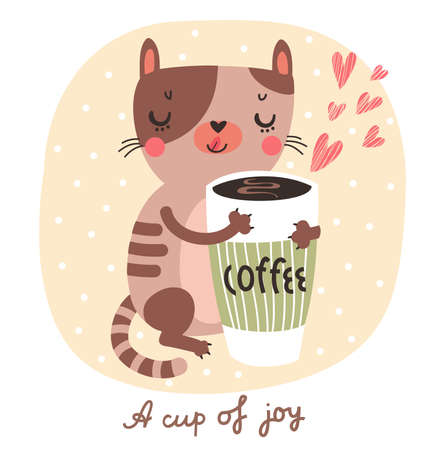 pets background: Cute cartoon cats with cup of coffee