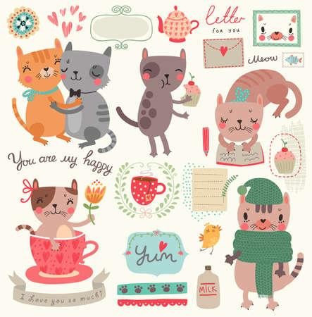 Een reeks illustraties met leuke katten Stock Illustratie