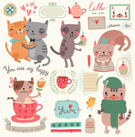 A set of illustrations with cute cats