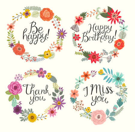Floral hand drawn set. Vector illustration Stok Fotoğraf - 51575366