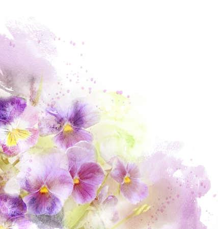 flores moradas: Tarjeta de la acuarela con la flor hermosa