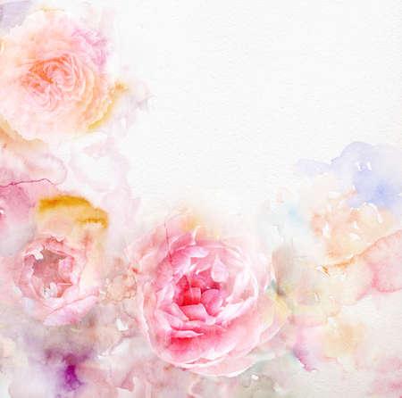 Watercolor kaart met mooie bloem Stockfoto