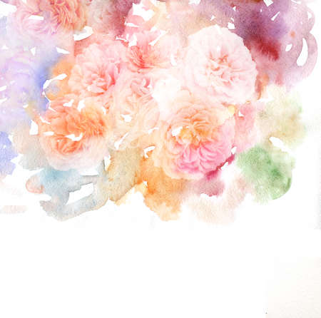 Watercolor card with beautiful flower