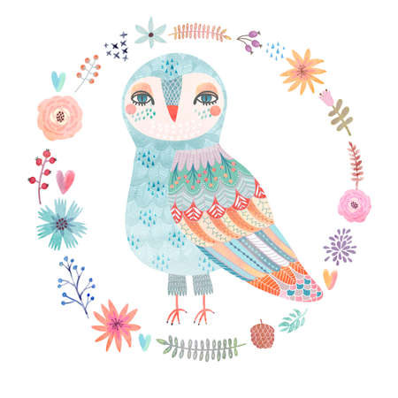 Watercolor floral background with a beautiful owl