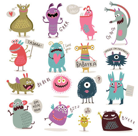 set van cartoon schattige monsters