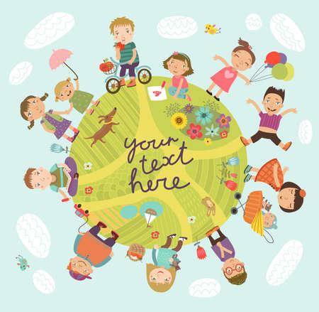 kinder: Planet of children. Illustration