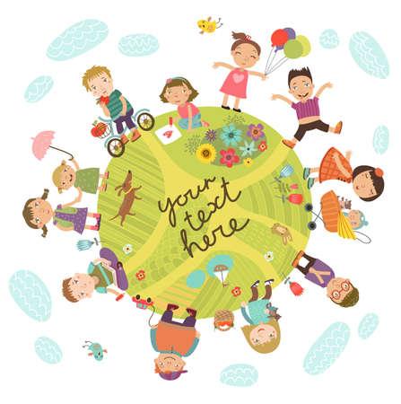 Planet of children. Stock Illustratie
