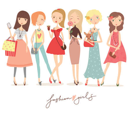 vector girl: Fashion girl vector set Illustration