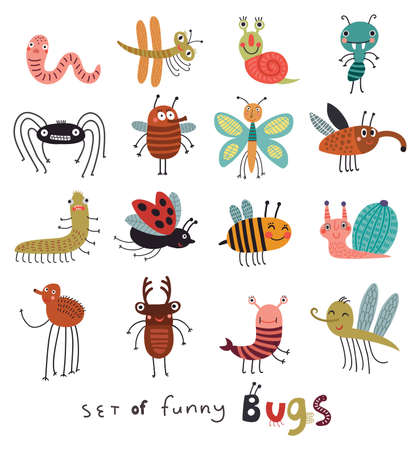 Set of cute and funny bugs Çizim