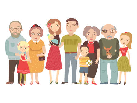 Gran familia, mamá, papá, niños, abuelos. ilustración vectorial