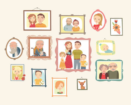 Gallery of family portraits. Photos on the wall