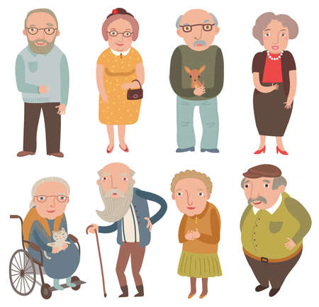 Aged people. Older men and women. Grandmothers and grandfathers Illustration