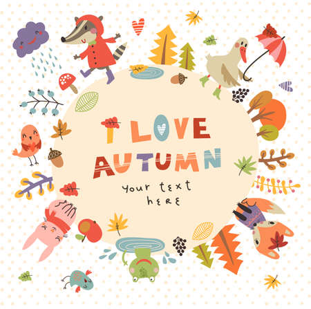frendship: Cute autumn background with the characters. Vector illustration with cute animals Illustration