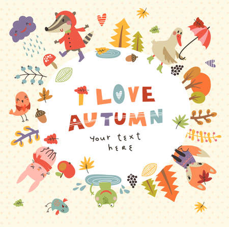Cute autumn background with the characters. Vector illustration with cute animals Çizim