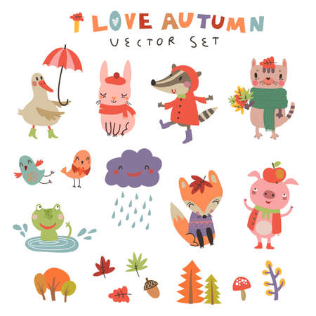 Cute autumn background with the characters. Vector illustration with cute animals Vettoriali
