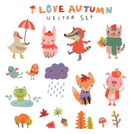 Leuke herfst achtergrond met de personages. Vector illustratie met schattige dieren