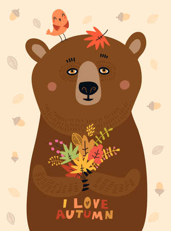 Sweetheart illustration. Bear with autumn leaves