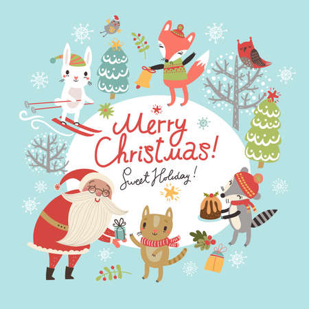 Christmas card with Santa and cute characters