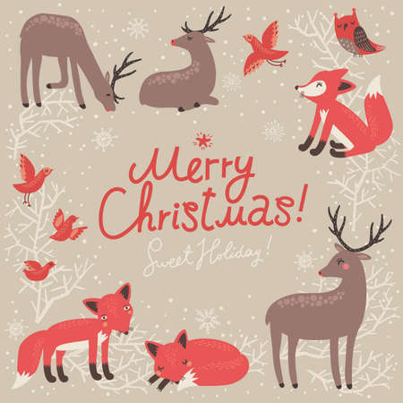 deer in heart: Christmas background. New Year card with deer and foxes. Illustration