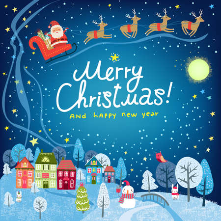 Christmas background. Landscape with town houses and Santa Claus
