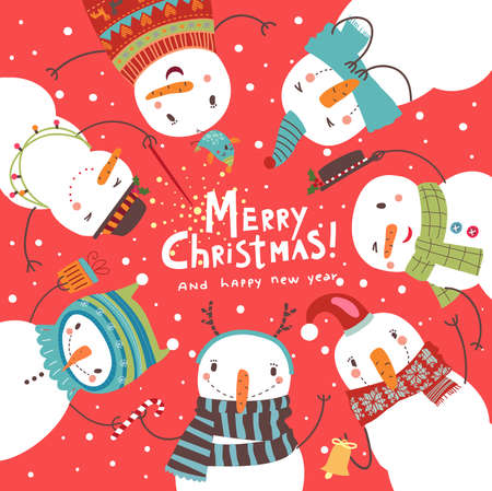 Christmas card. Round dance of snowmen