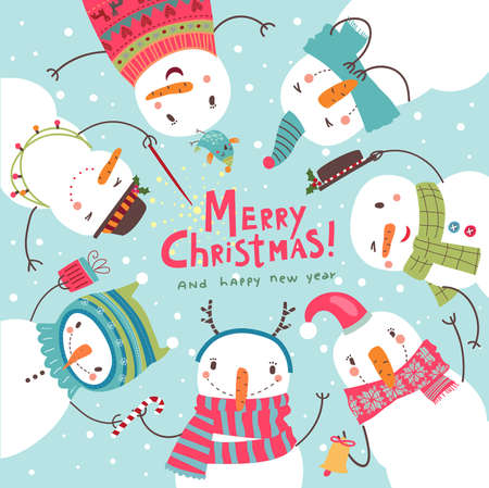 frendship: Christmas card. Round dance of snowmen