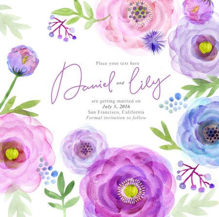 Watercolor greeting card flowers. Handmade. Congratulations background. Flowers card Stok Fotoğraf - 64825567