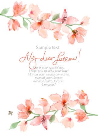 수채화 사쿠라. 꽃 배경, 꽃 그림