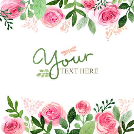Acuarela tarjeta de felicitación floral. rosas flores. Hecho a mano. fondo de la vendimia Foto de archivo - 65587970