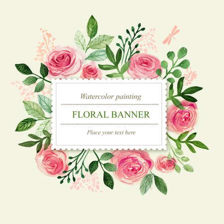 Watercolor floral greeting card. Flowers roses. Handmade. Vintage background Standard-Bild