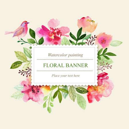 borde de flores: Acuarela tarjeta de felicitación floral. rosas flores. Hecho a mano. fondo de la vendimia