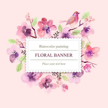 Watercolor floral greeting card. Flowers roses. Handmade. Vintage background Foto de archivo