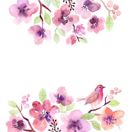 flor de cerezo: Acuarela tarjeta de felicitación floral. rosas flores. Hecho a mano. fondo de la vendimia