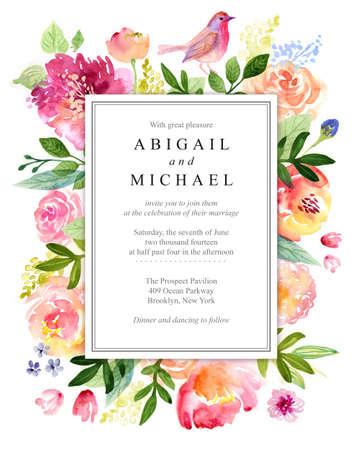 수채화 꽃 인사말 카드입니다. 꽃 장미. 수공. 빈티지 배경