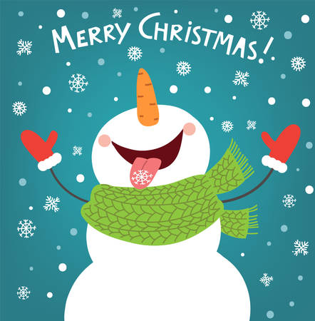 Funny snowman enjoying the snowflakes. Christmas card illustration