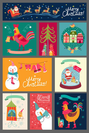 xmas card: Christmas set of cards. Collection of stickers, backgrounds. Santa, Snowman, rooster, deer.