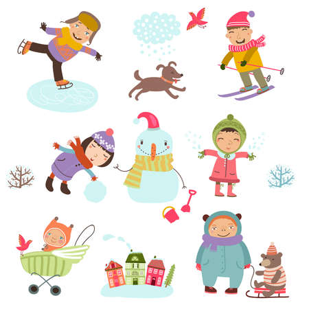 Cute Illustration of kids playing outdoors in winter. Winter holidays.