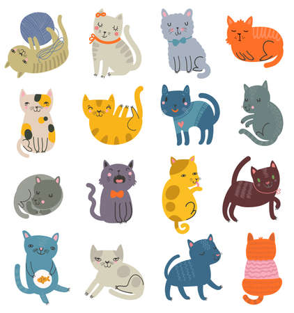 Funny vector set of cats. Collection of cute characters