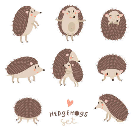 Vector set of cute hedgehogs.