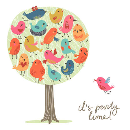 birds in tree: Birds party. Set of cute birds on the tree