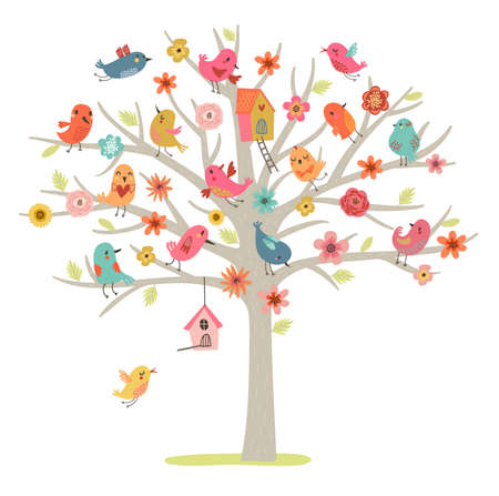 birds in tree: Set of cute birds on the tree Illustration